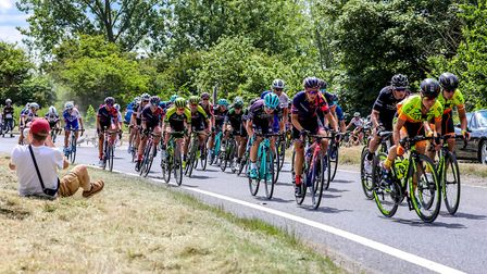 Riders on the A12 at Blythburgh during the first stage of he OVO energy Woman's Tour. Picture: St