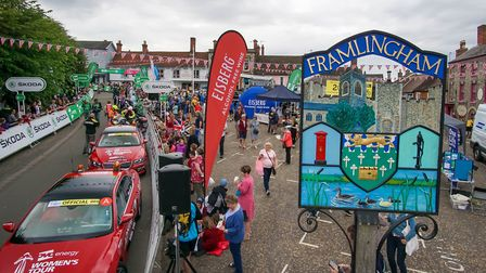 Market Hill, Framingham ahead of the start of the OVO energy Womans Tour, on 13 June 2018. Pictur