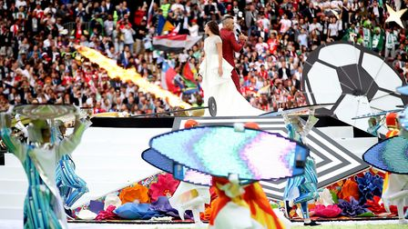 Robbie Williams and Aida Garifullina perform at the opening ceremony of the World Cup on Thursday Ph
