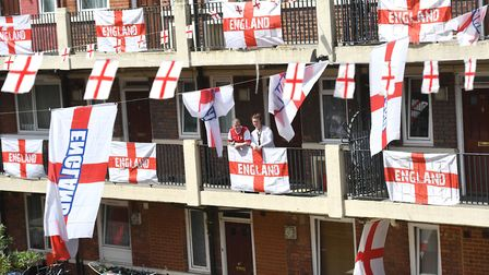 England flags are put up on the Kirby Estate in Bermondsey, London, where residents are showing thei