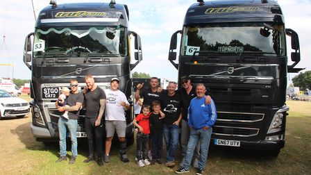 Drivers from Ipswich based company TruPlant/Tru7.com and children with their Volvo FH trucks Picture