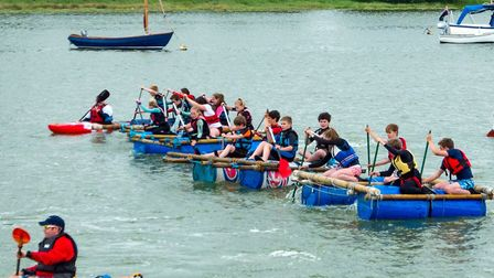 A record number of entrants took part in the Woodbridge Regatta Raft Race Picture: ROBIN GARROD