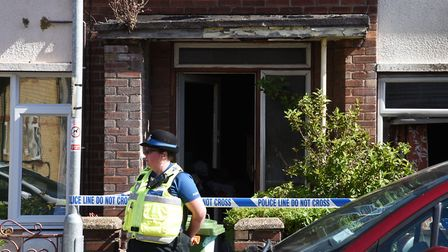 The scene of the house fire in Stanley Street, Lowestoft Picture: NICK BUTCHER