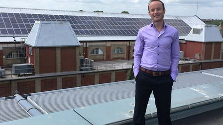 Suffolk county councillor Richard Rout on the roof of Suffolk County Council's headquarters in Ipswi