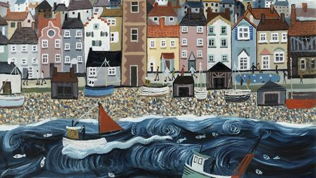 Alan Furneaux, Rough Sea at Aldeburgh, part of the Thompson's Gallery, Aldeburgh, summer exhibition.