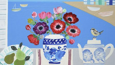 Emma Williams, Anemones and Pears, part of the Thompson's Gallery, Aldeburgh, summer exhibition. Pho