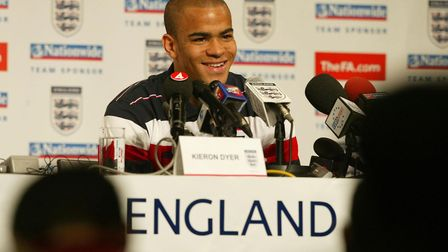 Kieron Dyer at a news conference in Awaji, Japan at the 2002 World Cup
