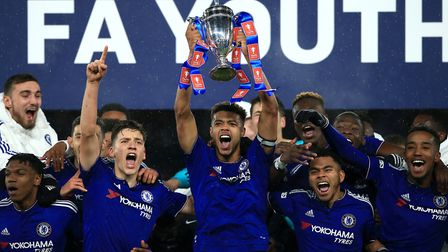 Jake Clarke-Salter lifts the FA Youth Cup for Chelsea. Photo: PA