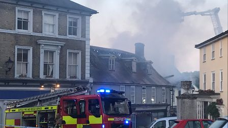 Fire crews at the scene of the fire in Halesworth. Picture: AMY SMITH/ARCHANT