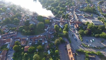 Halesworth fire from above Picture: STEVEN FISK