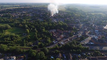 Halesworth fire from above. Picture: Steven Fisk