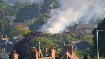 Thick plumes of smoke could be seen miles away from the fire in Halesworth Picture: BEN HAMMOND