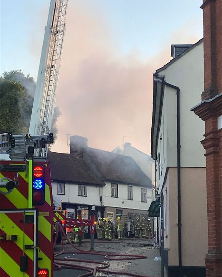 Streets were sealed off as firefighters tackled the blaze in Halesworth. Picture: AMY SMITH/ARCHANT