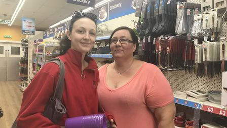 Katie Pickering and Cassandra Whinney as they shop for supplies in Poundworld in Ipswich (Picture: J