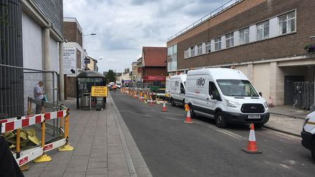 The roadworks in St Andrew's Street South