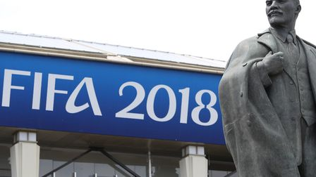 A statue of Lenin outside the Luzhniki Stadium in Moscow, where the opening match of the World Cup w