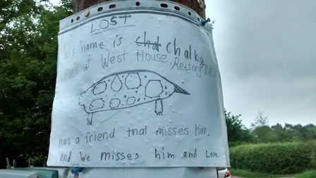 The poster, hand-drawn by nine-year-old Ella, which helped reunite Chalky with his family Picture: R