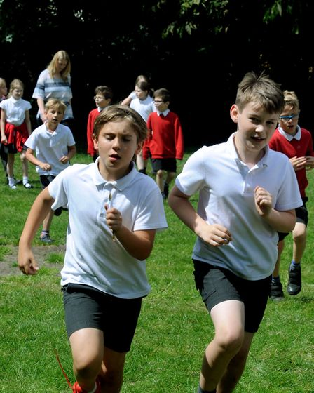 Ipswich Town kick off the East Anglian Go Kids Daily Mile at St Gregory Primary School in Sudbury.