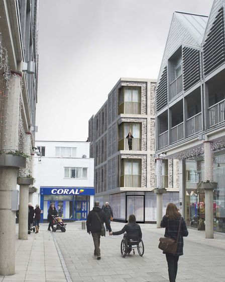 A view from the Arc shopping centre of how the redevelopment could look with shops, flats and a wide