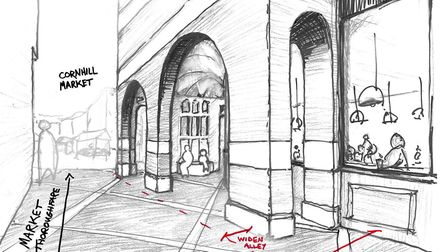 A sketch of the wider link from Market Thoroughfare Picture: ST EDMUNDSBURY BOROUGH COUNCIL