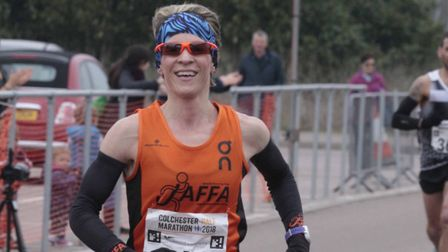 Helen Davies, winning the Colchester Half-Marathon, had the distinction of finishing first overall a