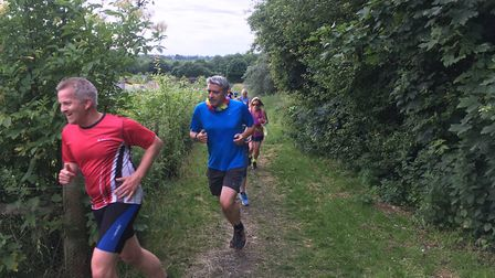 Negotiating four laps along grassy tracks at the Brundall parkrun last weekend
