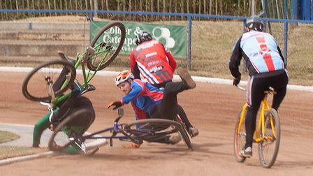 Luke Harrison and Dan Knights collide in the first bend at Ipswich during the Elite Senior GP on Sat