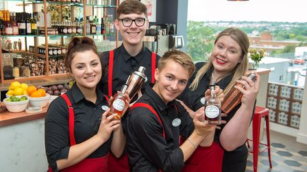 Tiptree Jam Jar Bar at Fenwick department store, Colchester. Pictured from left after bar staff Gemm