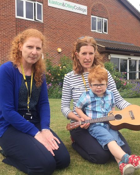 College principal meets up with Ed Sheeran ahead of Suffolk Day � (well almost) L to R Jane Townsend