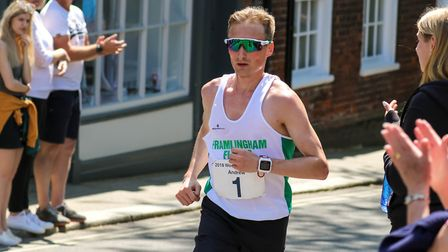 Andrew Rooke, on his way to victory at the Woodbridge 10K, won the Kirton Friday Five last week. Pic