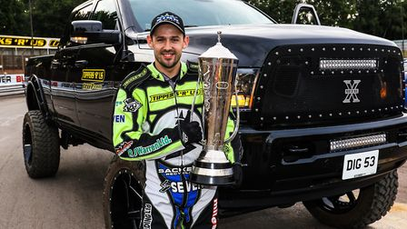 Danny King enjoyed a lap of honour with his British Championship trophy ahead of the Ipswich v Rye H