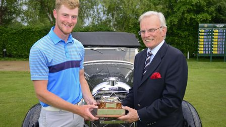 Suffolk�s James Biggs receives the Lagonda Trophy from Clive Smith, founder and sponsor. Biggs, who