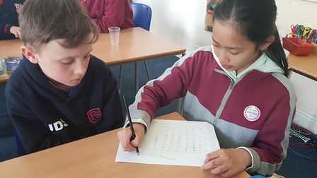 Students studying abacus maths together Picture: FINBOROUGH SCHOOL