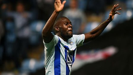 Frank Nouble celebrates scoring for Coventry City. Picture: PA SPORT
