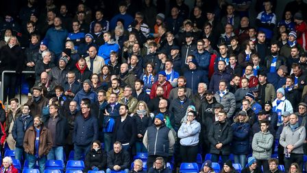 Town fans watch the action at Portman Road. All-seater stadiums have been compulsory in English foot
