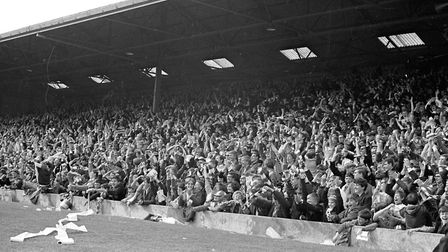 Before Portman Road was all-seated - the crowd during Ipswich vs Real Madrid in the UEFA Cup in Sept