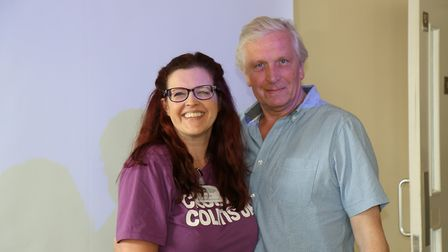 Alison Fisk, of the Crohn�s and Colitis UK (CCUK) charity and Chris Millar, who made the �260 donati
