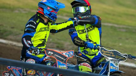 Cameron Heeps (red) and Nico Covatti (blue) celebrate their 5-1 in heat five. Picture: Steve Wall