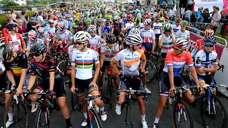 Riders wait for the start of the 2016 Women's Tour in Southwold Picture: SIMON PARKER