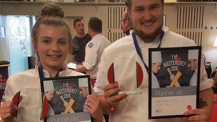Apprentice chefs Hannah Scott and Samuel Austin were runners-up in an industry Masterchef competitio