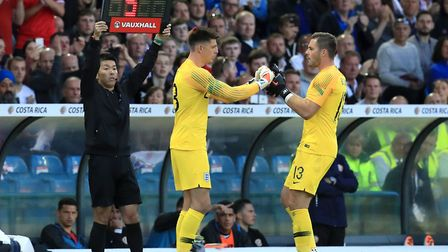 England's Jack Butland (left) is substituted for team-mate Nick Pope at Elland Road, Leeds. Picture: