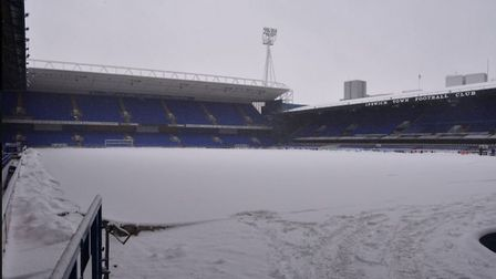 A snow-covered Portman Road in February. Picture: ITFC