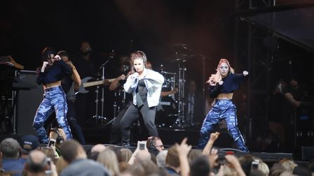 Demi Lovato performs at Newmarket Race Course's Summer Saturday Live Picture: SIMON TRAYLEN