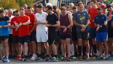 Runners check their watches before the start of the Felixstowe parkrun on Saturday. Picture: FELIXST