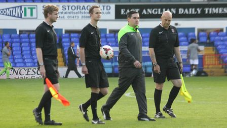 Suffolk official George Byrne, second left, will be an assistant referee on the Football League next