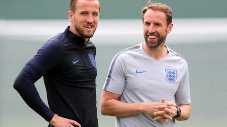 England striker Harry Kane (left) with manager Gareth Southgate during a training session in Russia