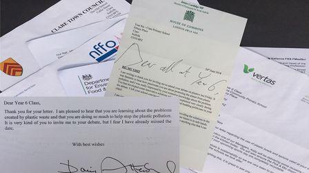 Letters sent to the pupils including one from Sir David Attenborough