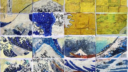 The Great Wave of Plastic mural made by Clare Primary School Year 6 pupils using crisp packets