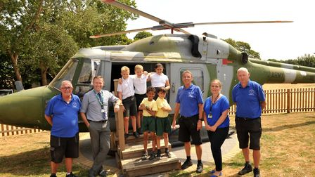 Pupils and staff at Hillside with their new helicopter Picture: SARAH LUCY BROWN
