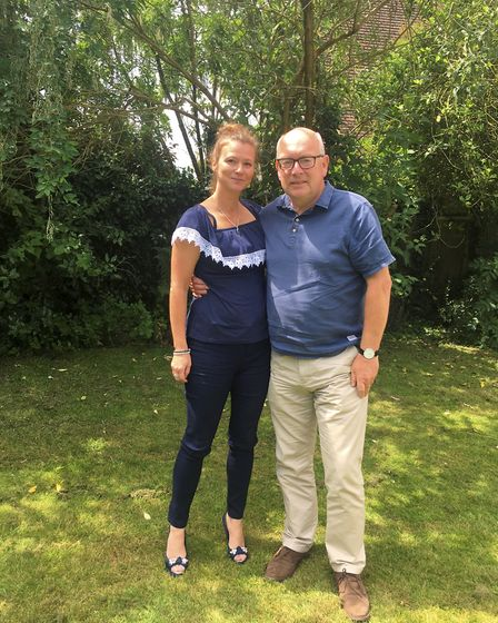 Former editor of the EADT Terry Hunt with life-saver Lisa Perry from Ipswich. Picture: TERRY HUNT